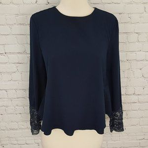 Zara Trafulac Top Blue Lace Blouse Pleat back M